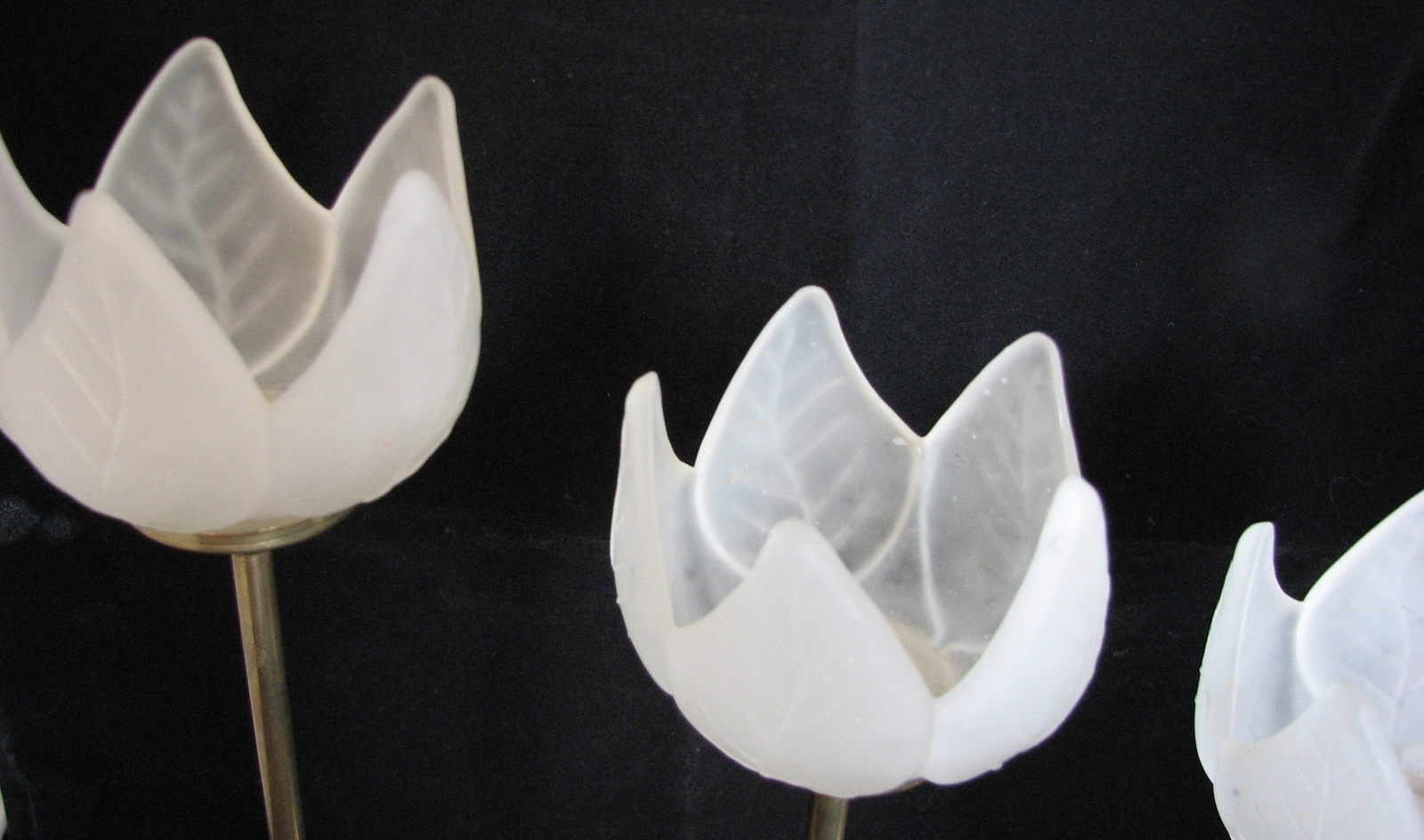 1970s Candleholders Brass Tulips Frosted Glass White Set of 3