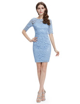 Light Blue Lace Sheath Cocktail Dress With Half Sleeves - $92.00