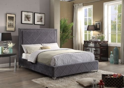 Meridian Hampton Queen Size Bed Upholstered Grey Velvet Chic Contemporary Style
