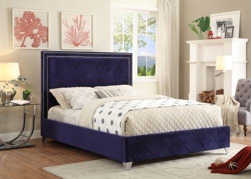 Meridian Hampton King Size Bed Upholstered Navy Velvet Chic Contemporary Style