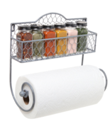 Wall Mounted Rustic Metal Wire Kitchen Spice Rack Paper TowelHolder Orga... - £34.37 GBP