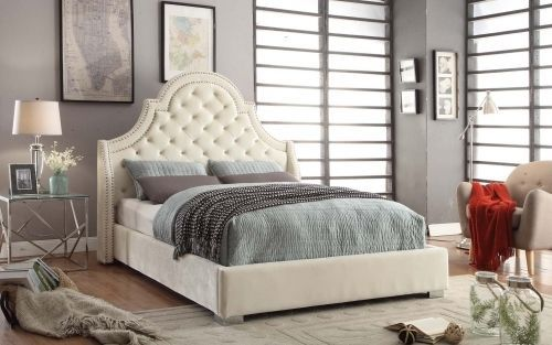 Meridian Madison Queen Size Bed Upholstered Cream Velvet Chic Contemporary Style