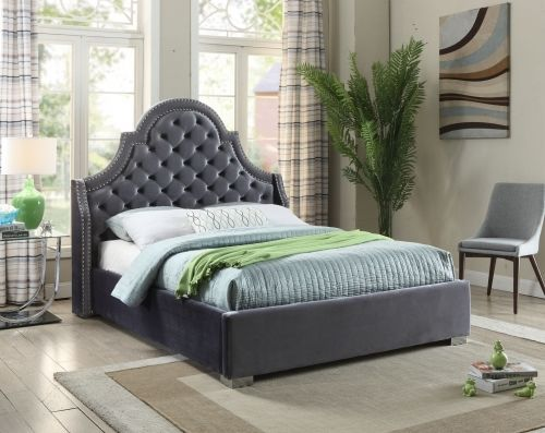 Meridian Madison Queen Size Bed Upholstered Grey Velvet Chic Contemporary Style