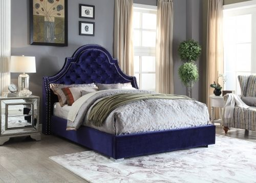Meridian Madison Queen Size Bed Upholstered Navy Velvet Chic Contemporary Style