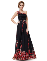 Black Floral Print One Shoulder Chiffon Prom Dress With 3d Floral Detail - $110.00