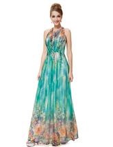 Green Floral Sleeveless Print Chiffon Halter Maxi Dress - $110.00