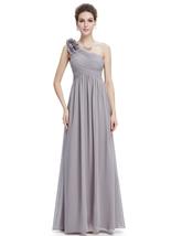 Grey Chiffon One Shoulder Flower Strap Long Bridesmaid Dress - $100.00+