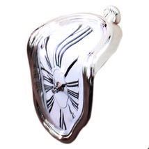 90 Degree Twisted Wall Clock Creative    silver - $21.99