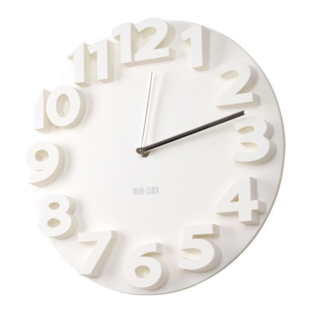 Creative Round Simple 3d Digital Wall Clock White Wall