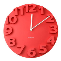 Creative Round Simple 3D Digital Wall Clock   red - $35.99