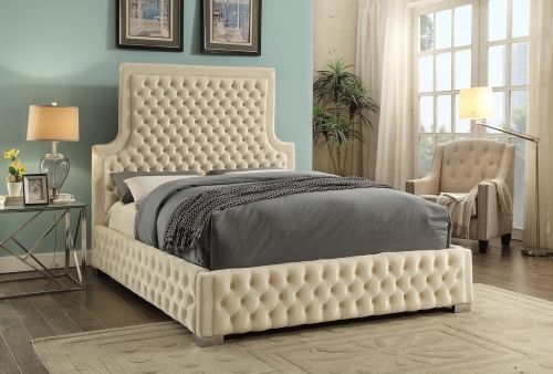 Meridian Sedona Queen Size Bed Upholstered Cream Velvet Chic Contemporary Style