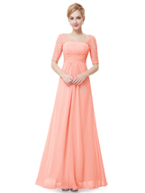 Elegant Peach Long Chiffon Bridesmaid Dresses With Lace Sleeves - $110.00