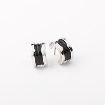 Designer Inspired Gorgeous Celebrity BV-logo Black-colored silver-tone earrings - $21.99