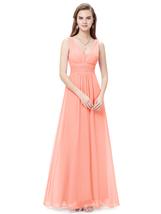 Peach V Neck Chiffon Long Bridesmaid Dresses For Beach Wedding - $110.00
