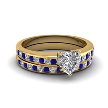 1.11Ct Heart Shaped Blue & White Sapphire Linear Shimmer Ring Set Yellow Gold Fn - $99.99