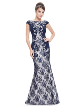 Elegant Navy Blue Mermaid Lace Prom Dress With Cap Sleeves - $120.00