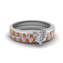 1.11Ct Heart Shape Orange & White Sapphire Linear Shimmer Ring Set White Gold Fn - $99.99