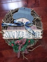 """18"""" Christmas Holiday Snowman Grapevine Wreath Country - $29.35"""