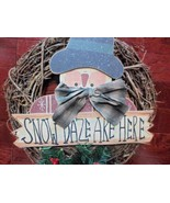 "18"" Christmas Holiday Snowman Grapevine Wreath Country - $29.35"