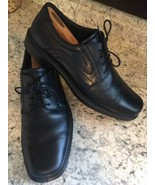ECCO HELSINKI Bike Toe Lace up Black Leather Oxford Shoes SIZE EU 46 • U... - $40.03
