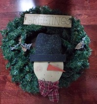 """20"""" Christmas Holiday Snowman Pine Wreath Country Red Plaid Bow - $29.35"""