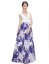 Blue And White V Neck Floral Print Maxi Prom Dress - $120.00