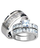 His Hers Princess Cut Cz Wedding Ring Set Stain... - $38.99