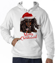 MERRY CHRISTMAS DACHSHUND BLACK 1 - NEW COTTON WHITE HOODIE - ALL SIZES ... - $22.26