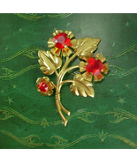 Vintage Unsigned beauty Brooch HUGE pin red rhinestones with flowers and... - $67.51 CAD