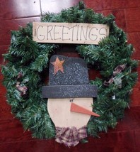 """20"""" Christmas Holiday Snowman Pine Wreath Count... - $29.35"""