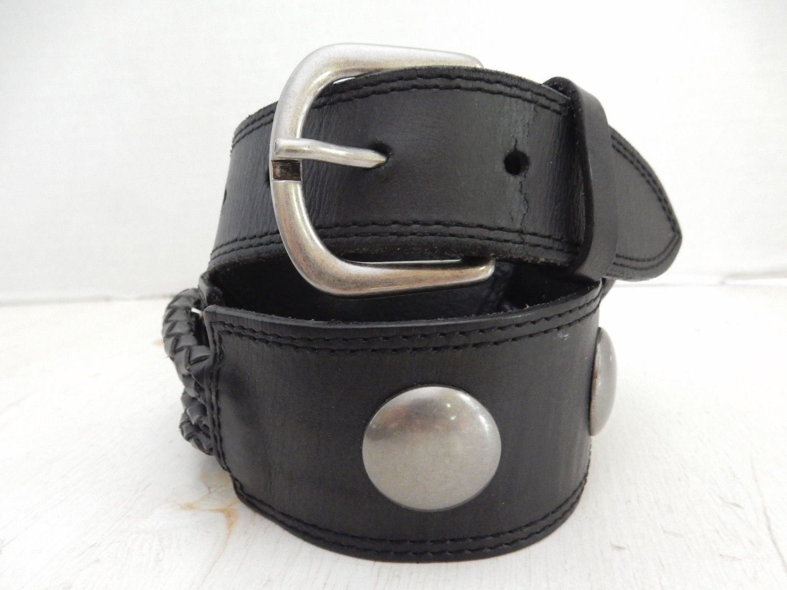 betsey johnson womens wide black braided leather belt with
