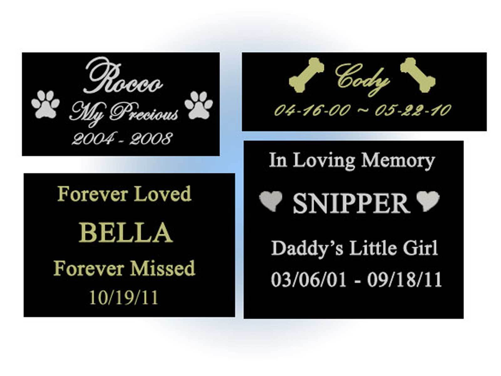Primary image for CUSTOM ENGRAVED NAME PLATE - PET LOSS MEMORIAL - CHOOSE SIZE - DOG CAT ANY PET