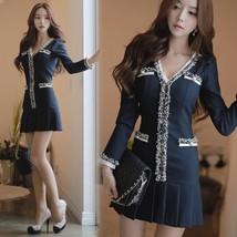 Spring Autumn Korean Style Elegant Women Sweet V Collar Long Sleeve Mini... - $19.50