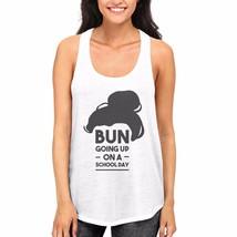 Cute Women and Girls Back To School White Tank Top Bun Going Up A School... - $14.99+