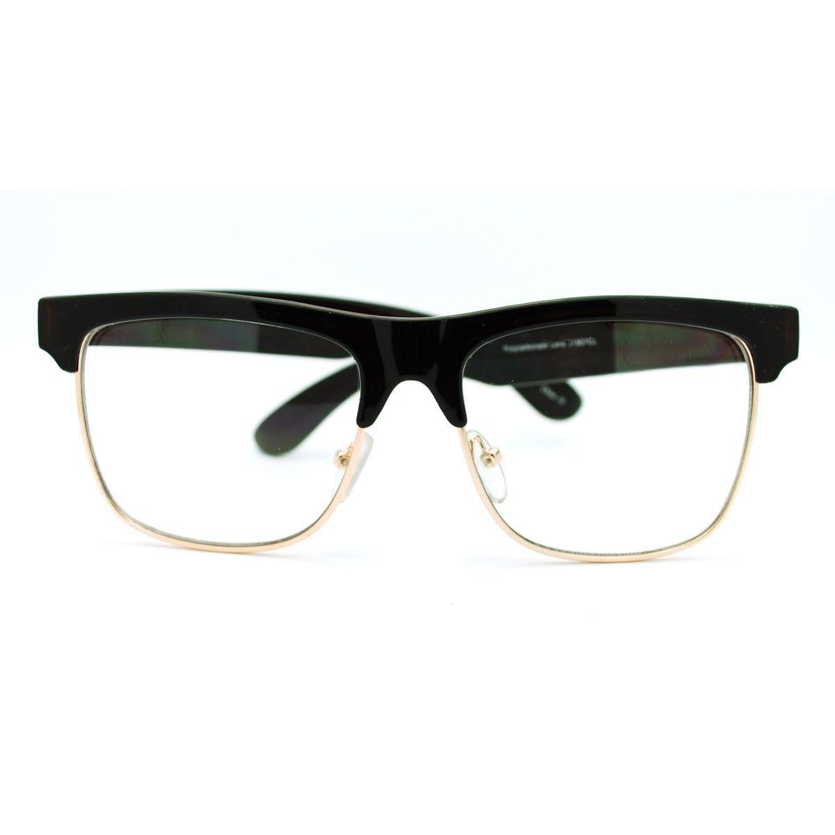 Clear Lens Glasses Square Half Rim Modern Smart Look Eyeglasses