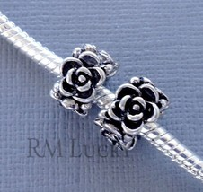 2 pcs Silver tone Charms Beads Spacer flower Fits European style Bracelet  C68 - $2.96