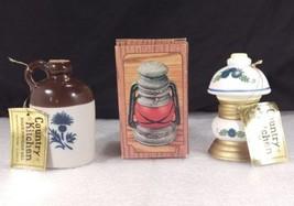 3 Jasco Country Kitchen Bells Lantern Jug Lamp Bisque Porcelain Handcrafted - $24.23