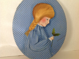 Wall Hanging Fabric Girl Watching Butterfly Vintage Blue Oval - $3.00