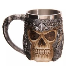 3D Skull Viking Beer Mug Scary Cool Resin Stainless Steel Cups Home Offi... - $36.41 CAD