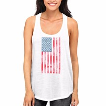 USA American Flag on Women White Tank Top Racerback Tanks on Independenc... - $14.99+