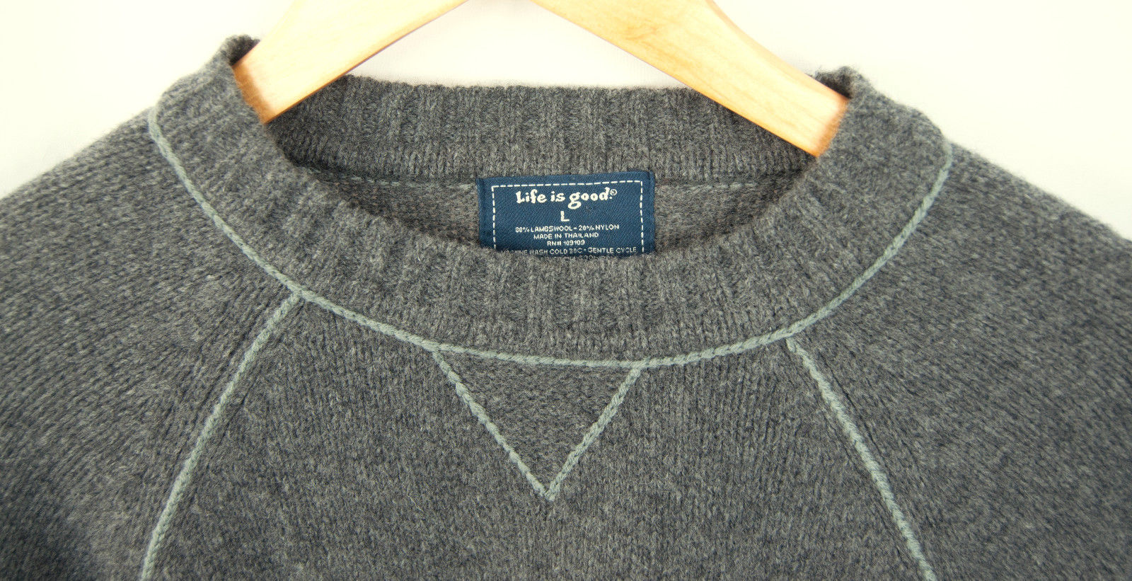 NWT Tags Life is Good Lambs Wool Blend Sweater Men's Size Large L  $65