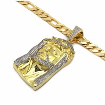 """Mens 14K Gold Plated Cz Jesus Hip-Hop Pendant  With 10mm/30"""" Figaro Chain - €108,89 EUR"""