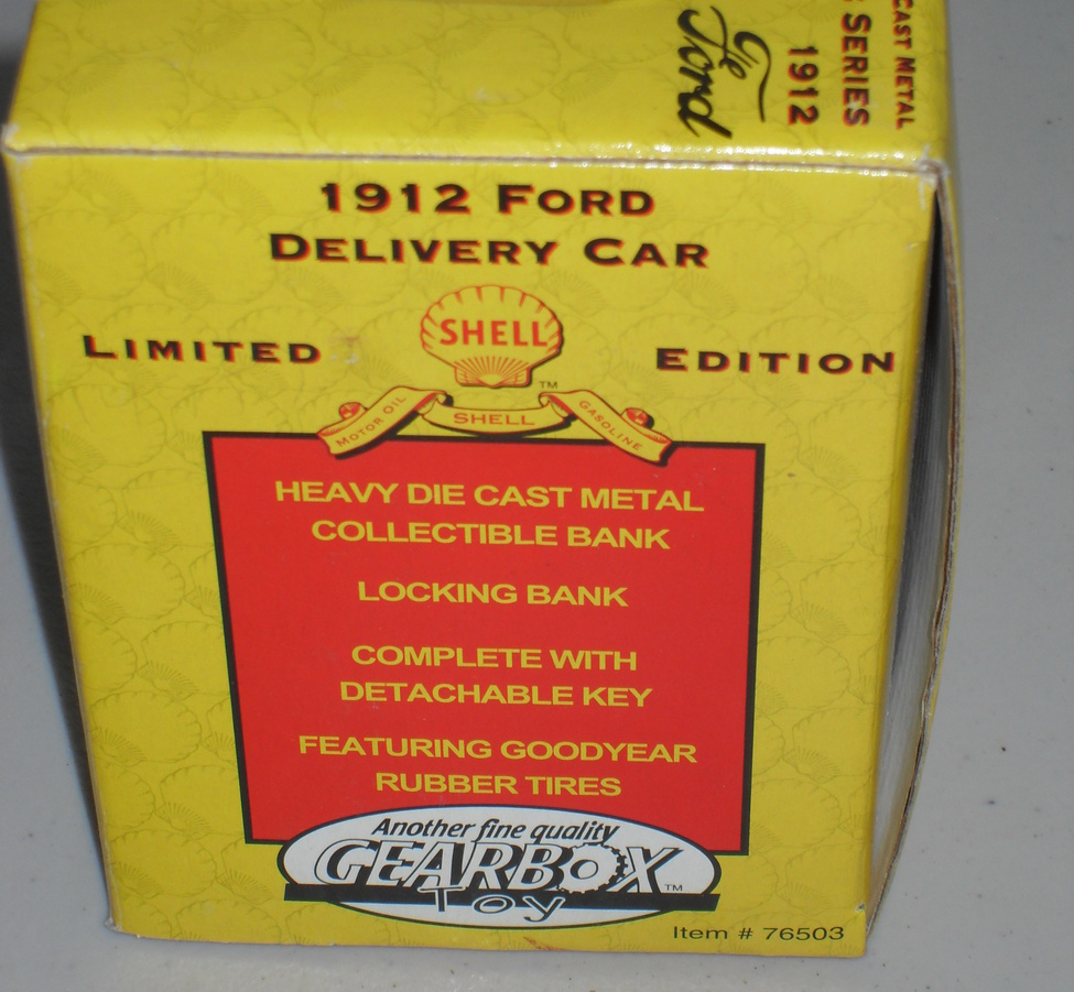 1996 GEARBOX TOY (SHELL) 1912 FORD DELIVERY CAR DIE CAST BANK 1:24 SCALE