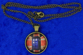 Tardis Police Box Necklace Union Jack Dr Who Cabochon Chain Style Length... - $4.99+