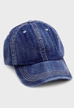 Dark Blue Distressed Retro Denim Baseball Cap Hat S114696 - ₨802.75 INR