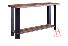 Barrett Sofa Table Hardwood Iron Rustic Industrial Open Storage Ships As... - €409,98 EUR