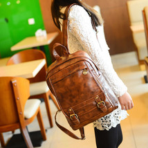 Retro Womens Backpack Leather School Bag Casual Travel Rucksack Shoulder... - $32.62