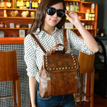 Retro Womens Backpack Leather School Bag Casual Travel Rucksack Shoulder... - $28.94