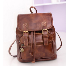 Retro Womens Backpack Leather School Bag Casual Travel Rucksack Shoulder... - $25.10