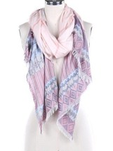 Women's Pink Tribal Pattern Frayed Edge Woven Scarf - €9,38 EUR